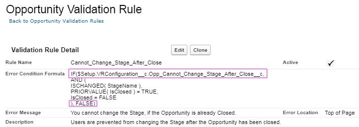 Screenshot of Validation Rule